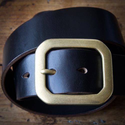 Belt - Horween Chromexcel Black - Your Choice of Solid Brass Buckle