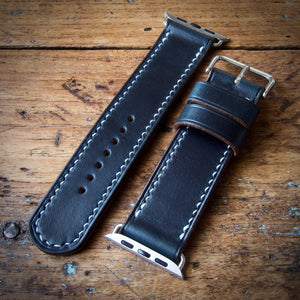 Watch Strap - Apple iWatch - Horween Navy Blue Chromexcel - White Thread