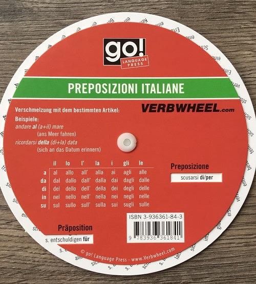 Italian - German Prepositions Wheel | Verb Wheels Ireland