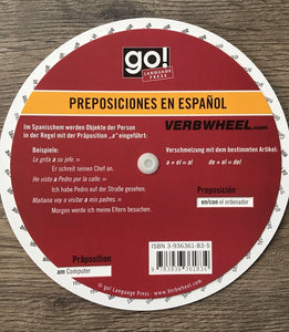 German - Spanish Prepositions Wheel | Verb Wheels Ireland