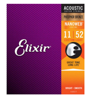 Elixier 16027 Acoustic custom light phosphor bronze nanoweb 0.11-0.52