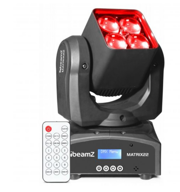 Matrix22z led moving head zoom ir dmx 4x 10w 4-in-1 rgbw