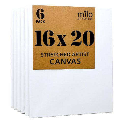 MILO 16x20 Pack of 5 Stretched Canvas Ready to Paint White Blank Art Canvas Bulk Set 1-3//8 Inch Deep Profile Back Splined Artist Canvases for Painting