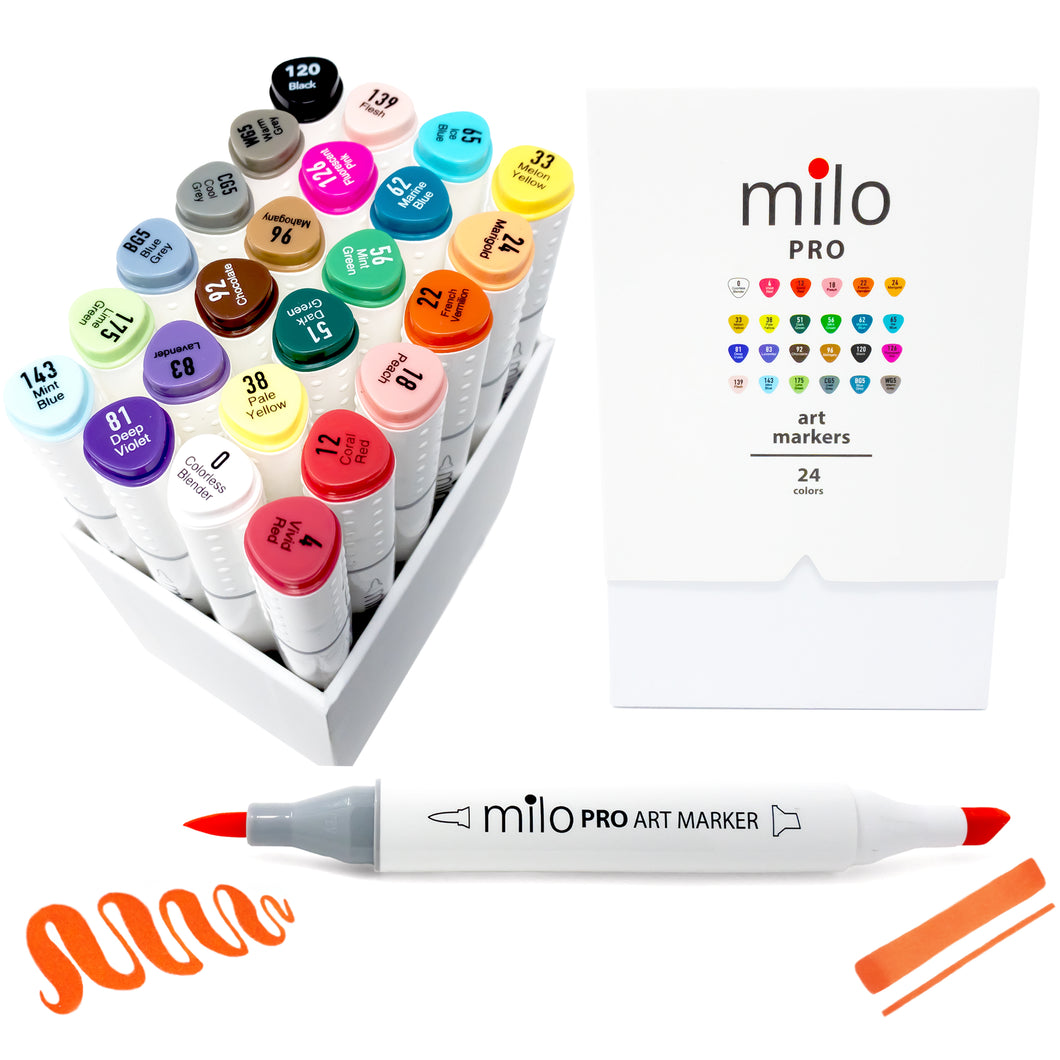 Milo PRO Brush Markers | Set of 24