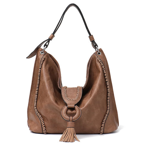 """Cleo"" large capacity tasseled hobo slouch tote"