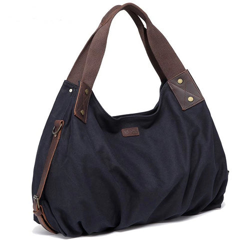 """Willow"" adjustable leather accented canvas shoulder bag"