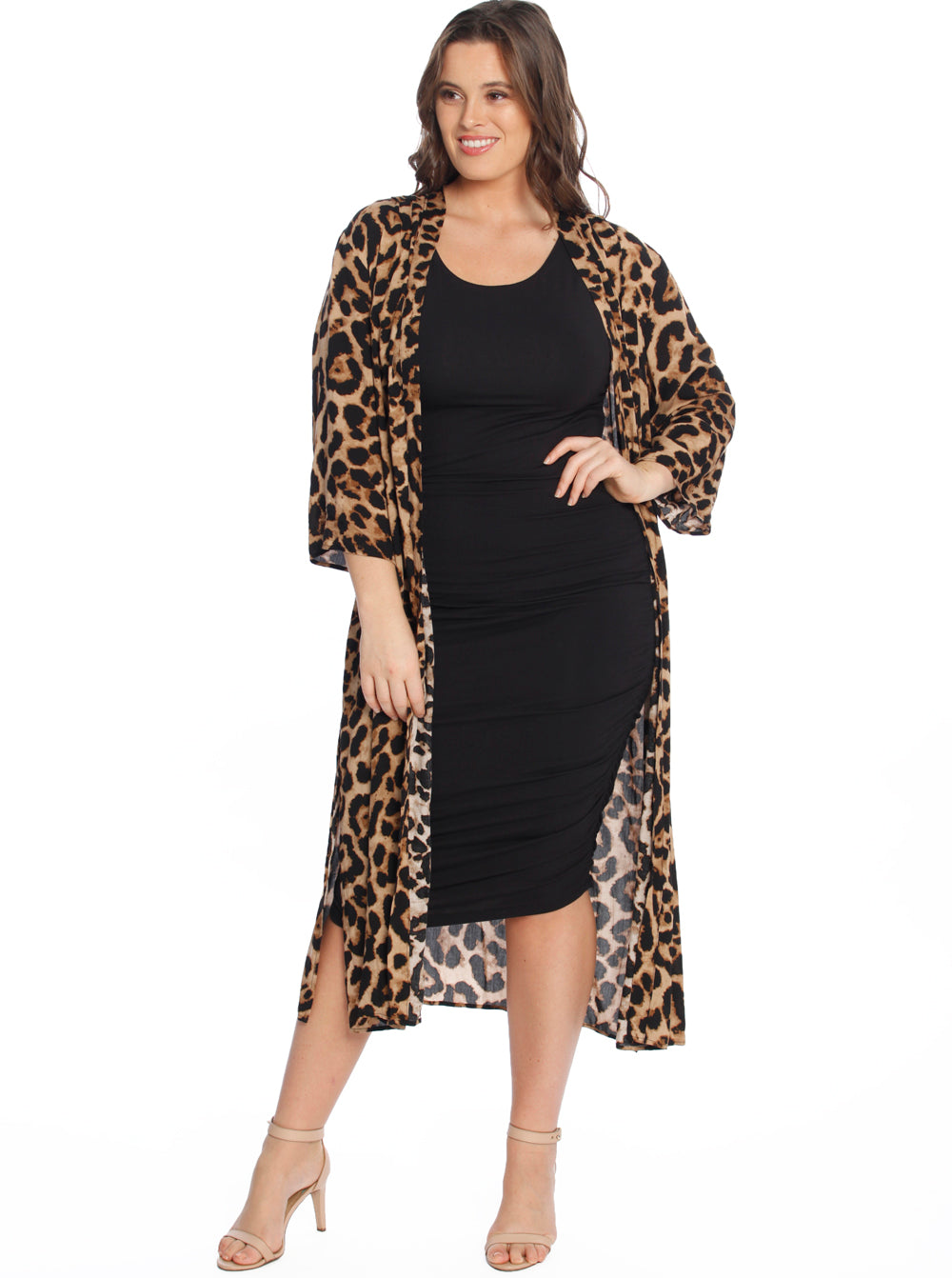 Duster Kimono Cardigan in Leopard/ Black Flower Prints