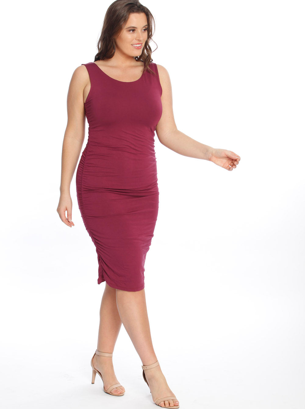 Bodycon Bamboo Dress - Burgundy/ Black