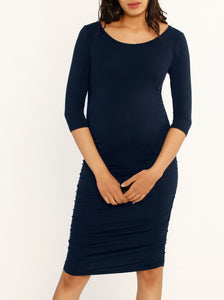 Bodycon Bamboo Body Hugging Dress - Black/ Navy/ Charcoal