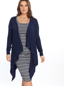 Bamboo Waterfall Cardigan - Navy/ Black
