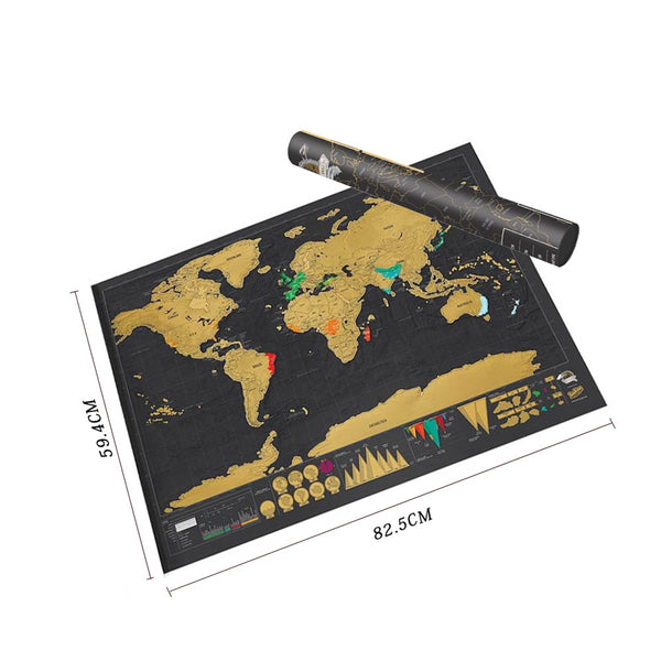 Copper Scratch Off World Travel Map  (Large)