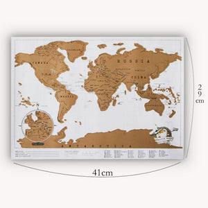 White and Gold Scratch Off World Travel Map  ( Small )