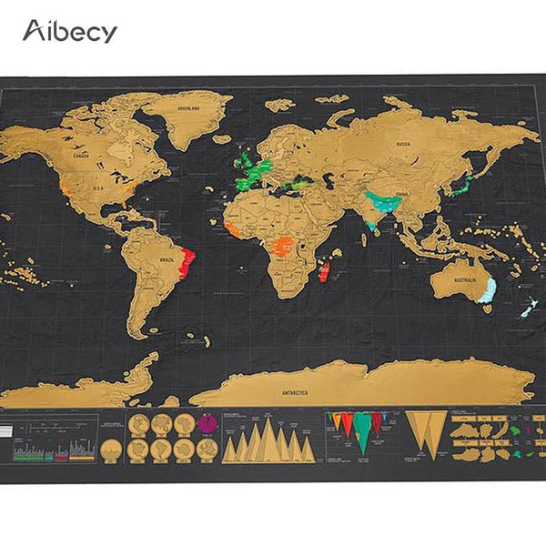 Copper Scratch Off World Travel Map  (Small)