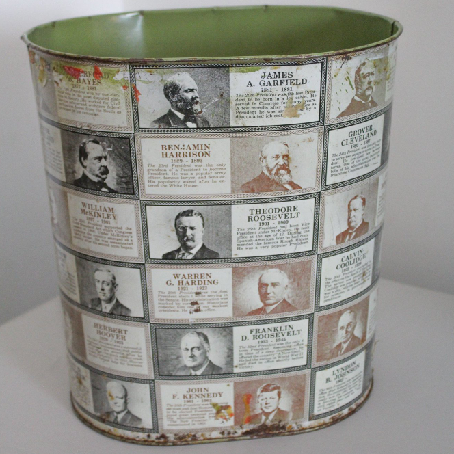 Vintage 1960s Cheinco Presidents Trash Can