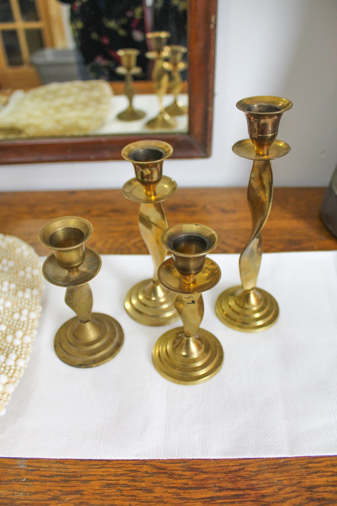 Mid Century Twisted Brass Candlesticks
