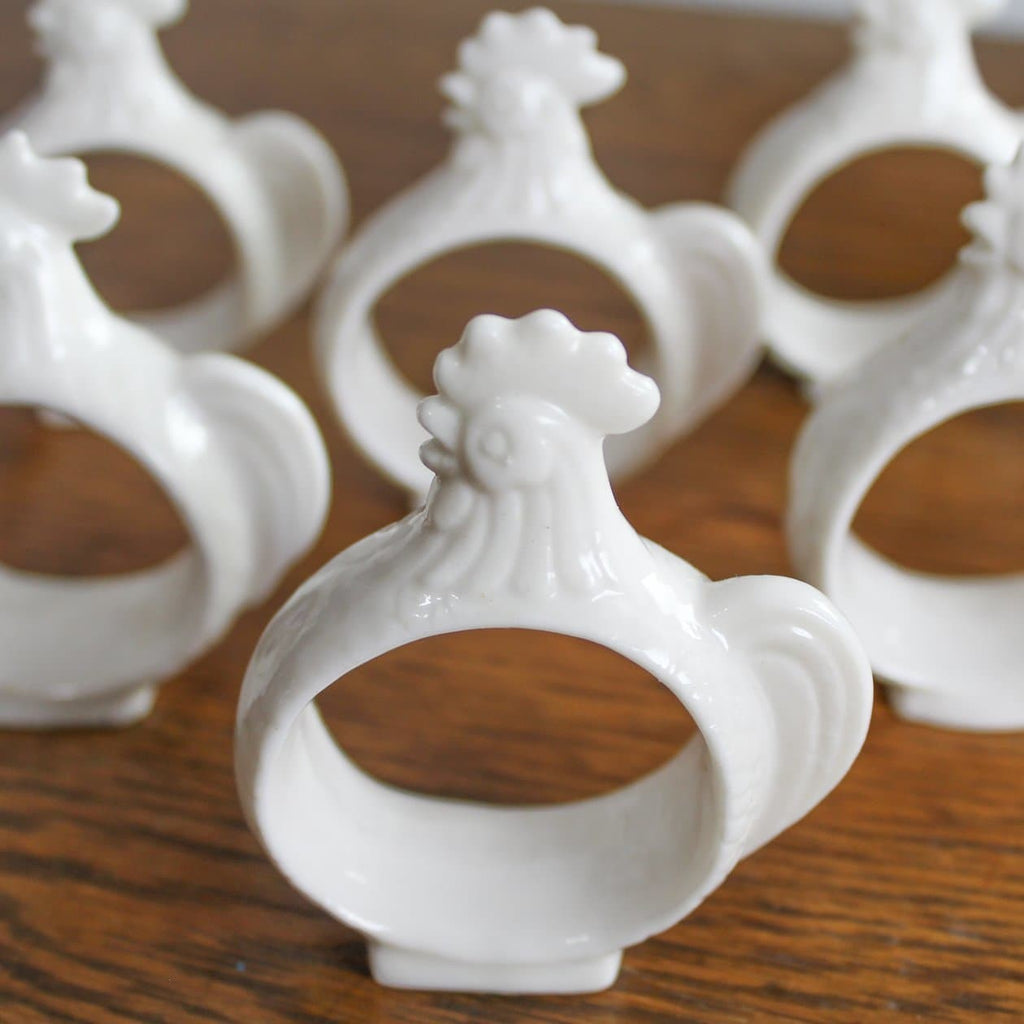 8 Vintage Bone China Rooster Napkin Rings