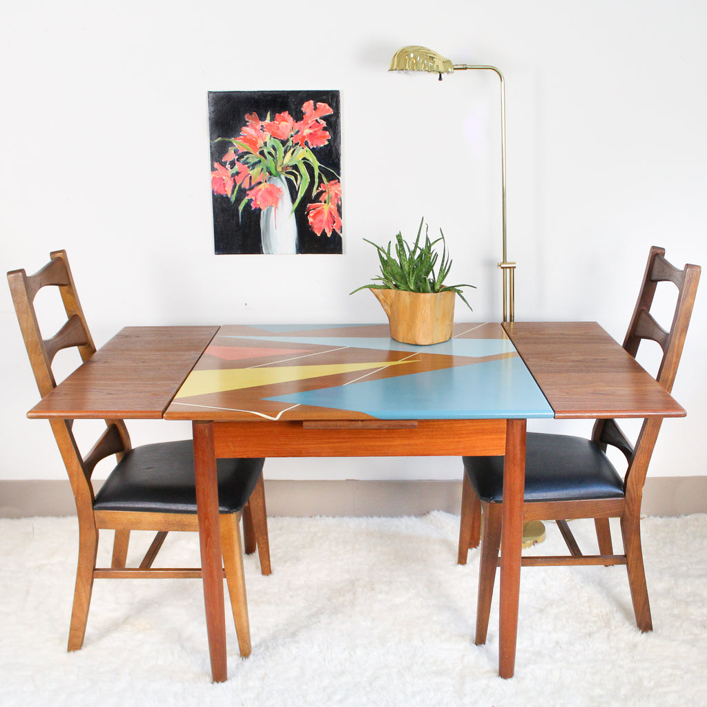 Mid Mod Draw Leaf Dining Set Hand Painted