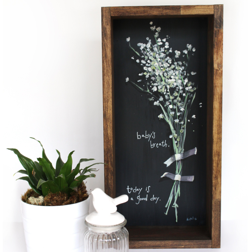 "Rustic Floral Painting ""Baby's Breath"" 9x24"""