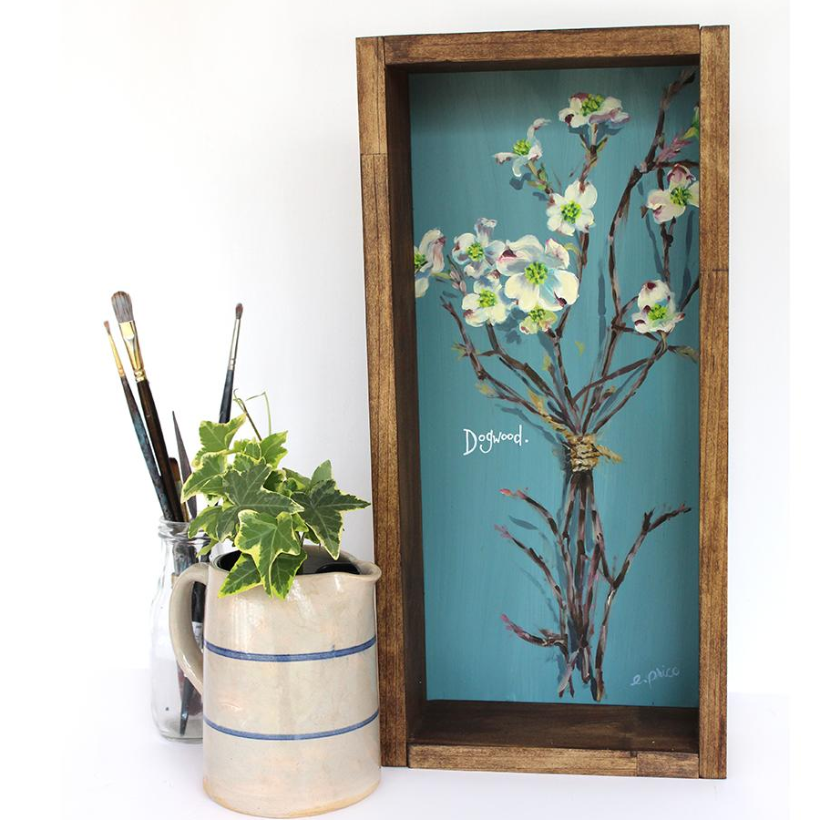 "Rustic Floral Painting ""Dogwood"" 9x24"""