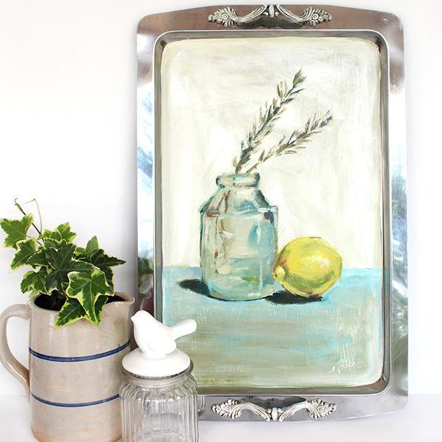 "Painted Tray, ""Lemon and Rosemary"""