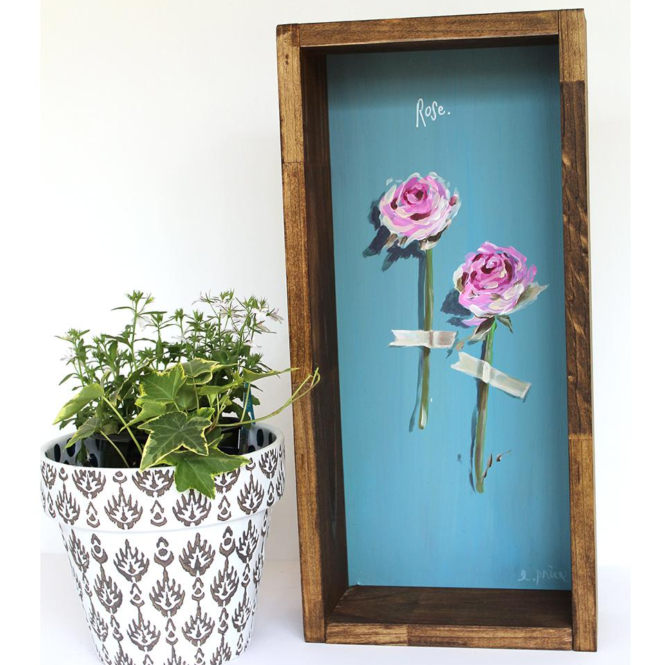 "Rustic Floral Painting ""Roses"" 9x24"""
