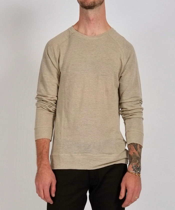 Kasu Long Sleeve Pique Crewneck in Ash by Saturdays NYC