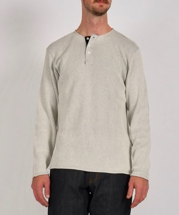 Mitch Thermal Henley in Ivory/Black by Saturdays NYC