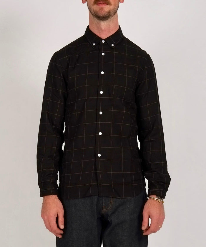 Crosby Button Down Flannel Check Shirt in Black/Bronze by Saturdays NYC