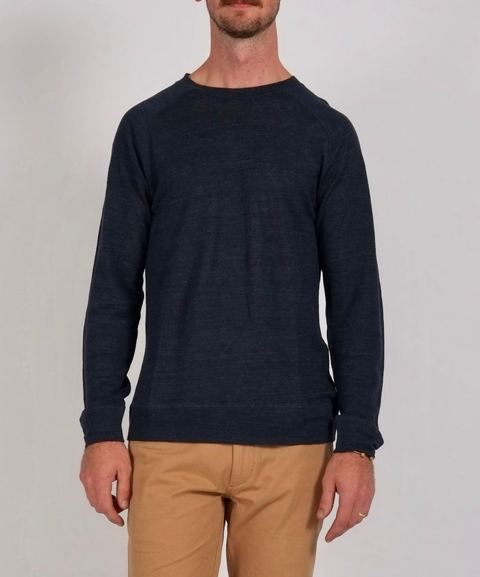 Kasu Long Sleeve Pique Crewneck in Midnight by Saturdays NYC