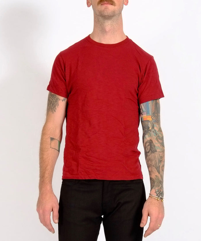 Burgundy Single Crew Neck Rolled Tee by Velva Sheen