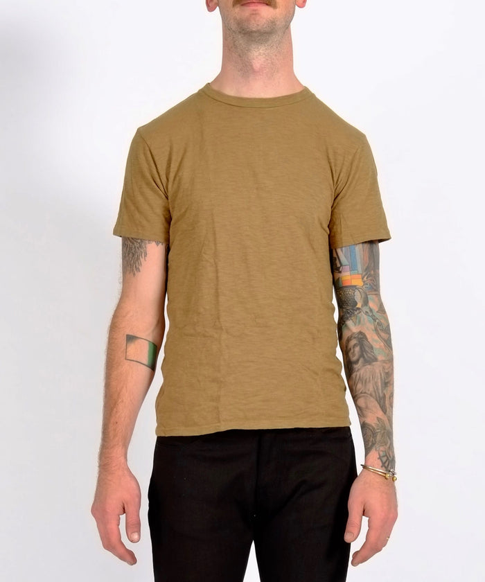 Olive Single Crew Neck Rolled Tee by Velva Sheen