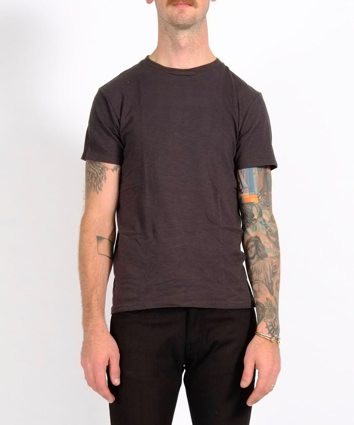 Black Single Crew Neck Rolled Tee by Velva Sheen