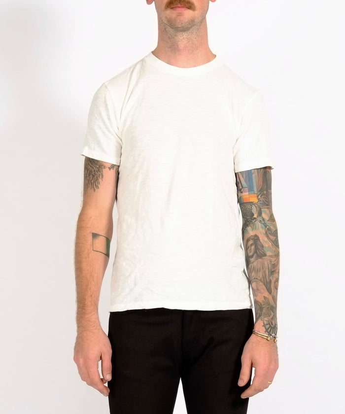 White Single Crew Neck Rolled Tee by Velva Sheen