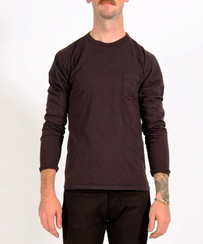 Black Long Sleeve Crew Neck Pocket Tee by Velva Sheen