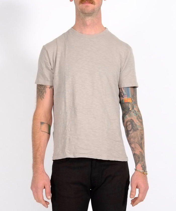 Grey Single Crew Neck Rolled Tee by Velva Sheen