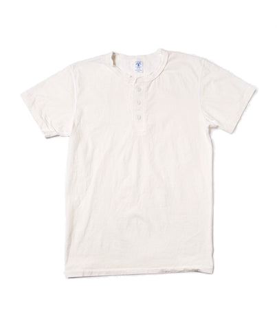 White Short Sleeve Henley by Velva Sheen
