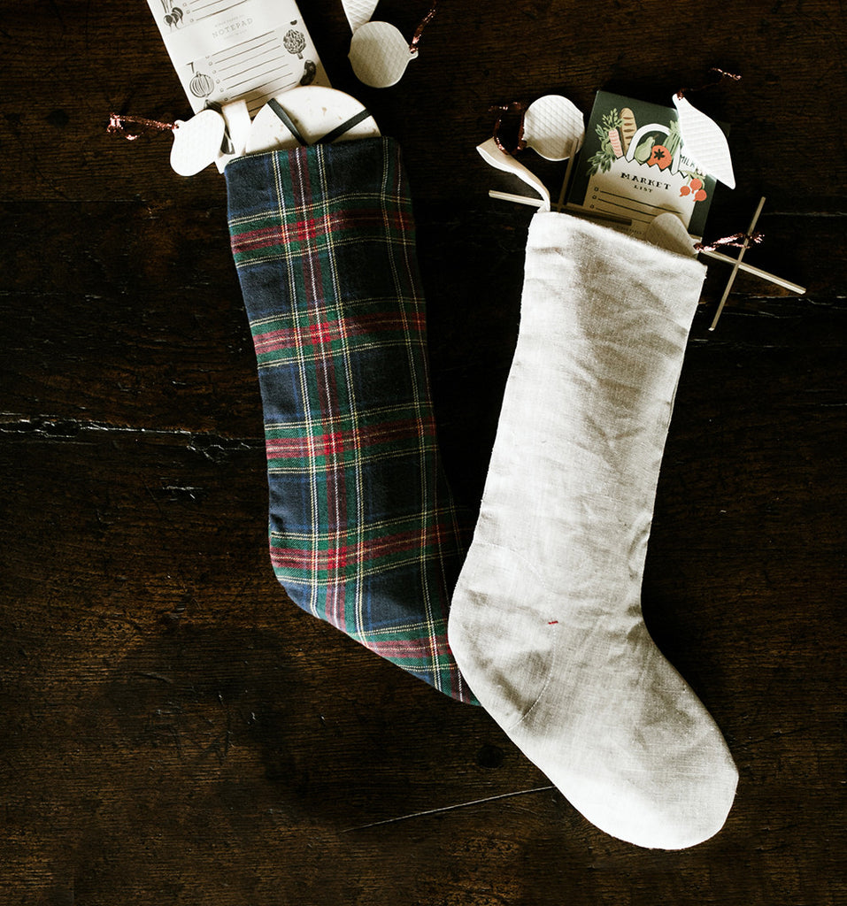 celina mancurti grey linen christmas stocking