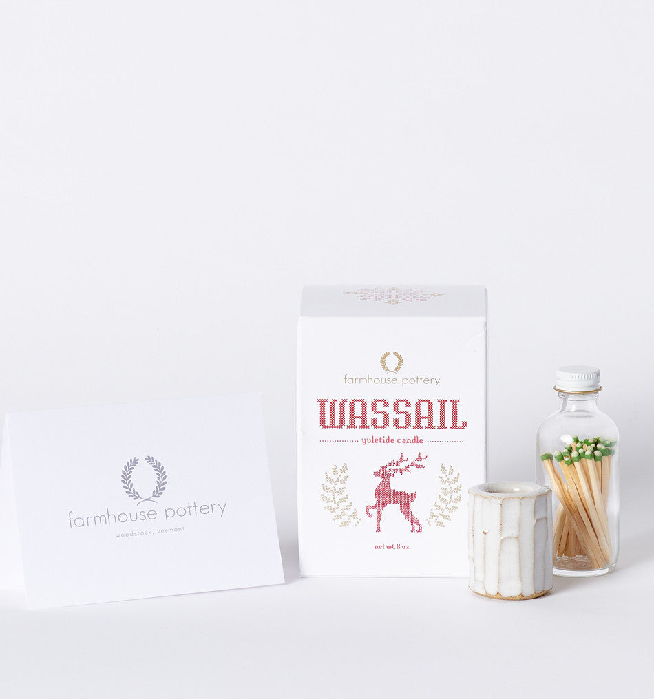 farmhouse pottery wassail candle gift set