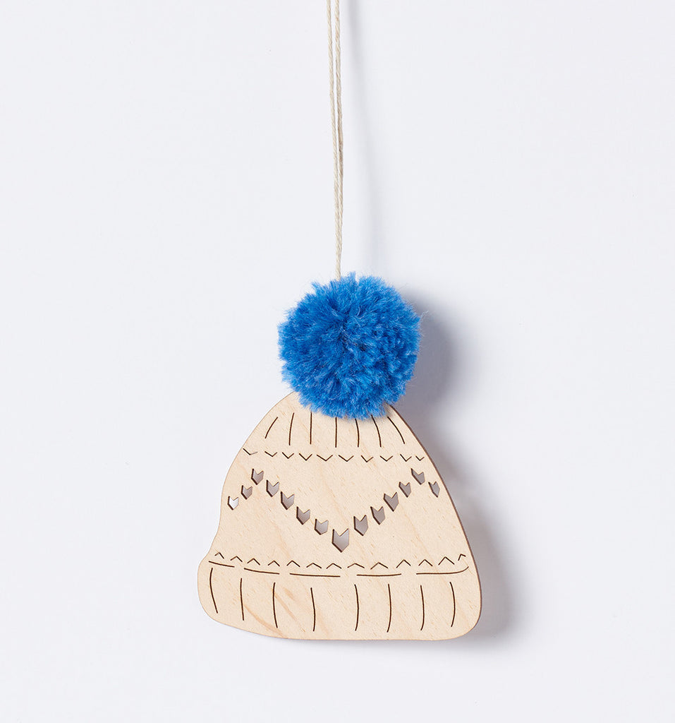 henderson dry goods woodcut pompom hats ornaments