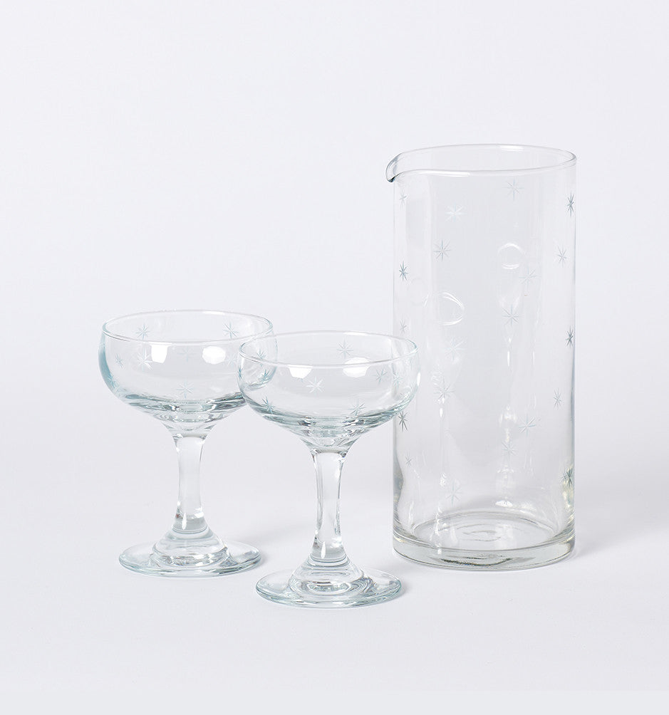 love & victory champagne coupe and pitcher set