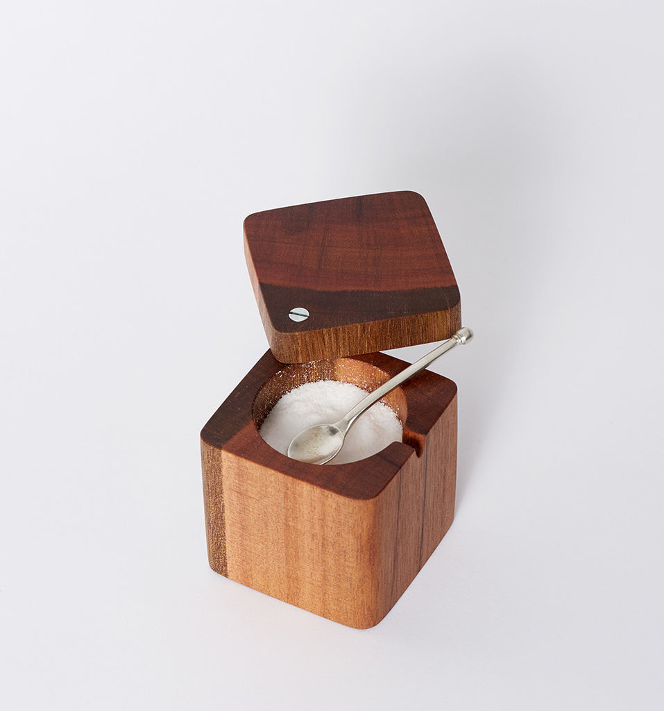 the wooden palate salt cellar with pewter spoon