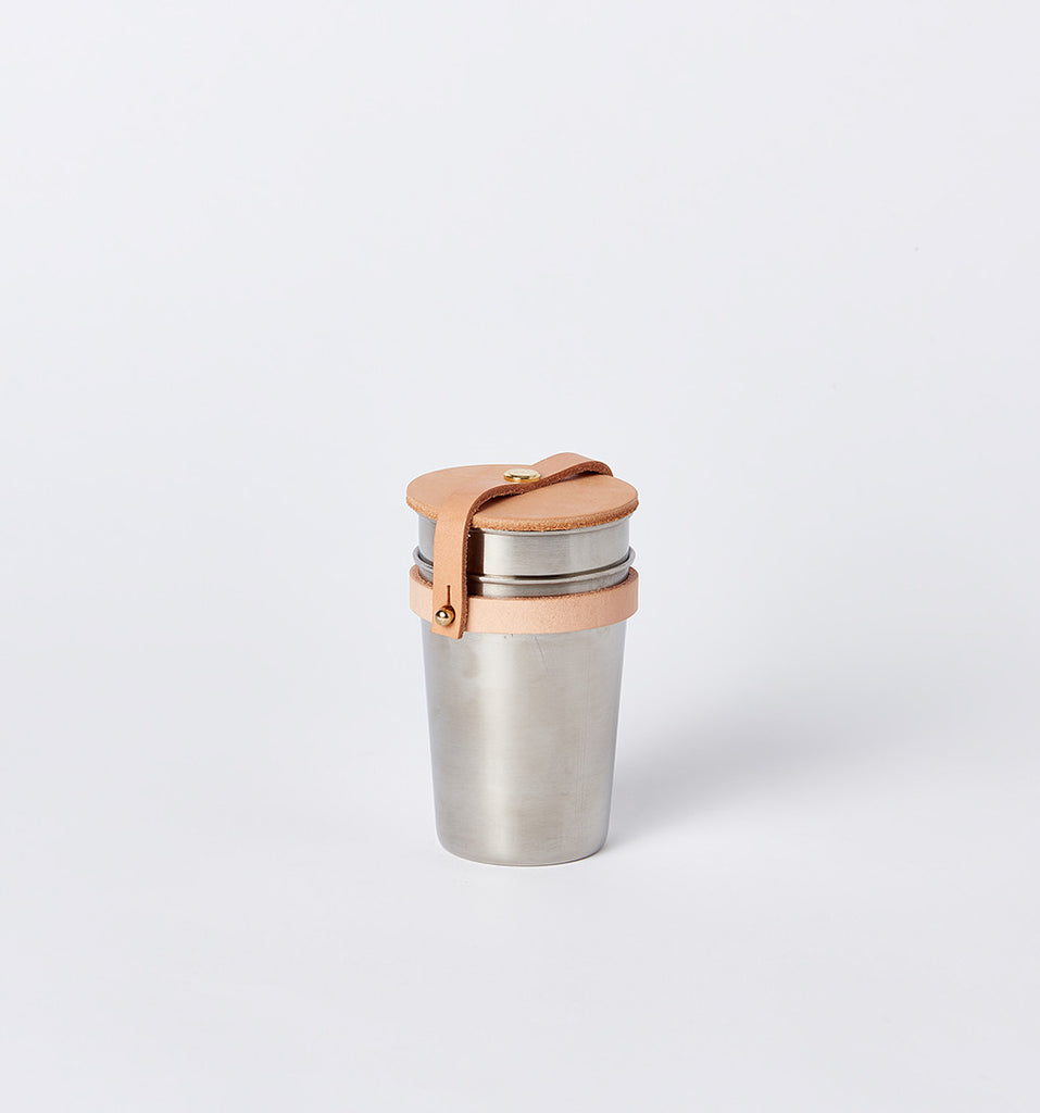 Leather & Steel Cup Set