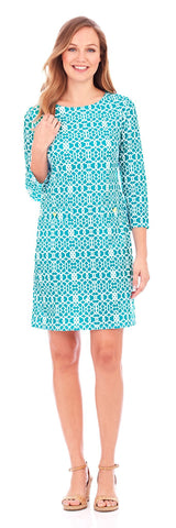 Sabine Shift Dress in Lattice Geo Turquoise - Jude Connally - 1