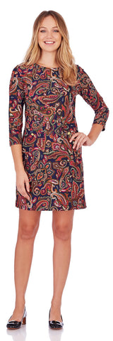 Sabine Shift Dress in Vintage Paisley Midnight - Jude Connally - 1