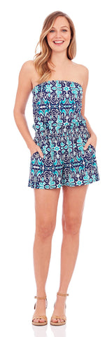 Gemma Strapless Romper in Watercolor Ikat Navy