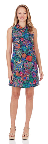 Willow Shift Dress in Botanical Floral Navy