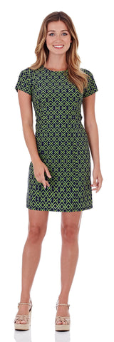 Zoey Sheath Dress in Trellis Trio Navy