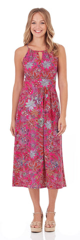 Poppy Dress in Botanical Floral Fuchsia