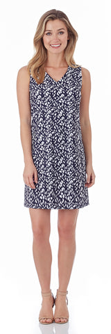 Juliet Shift Dress in Abstract Spots Navy