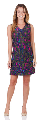 Juliet Shift Dress in Feathered Abstract Navy